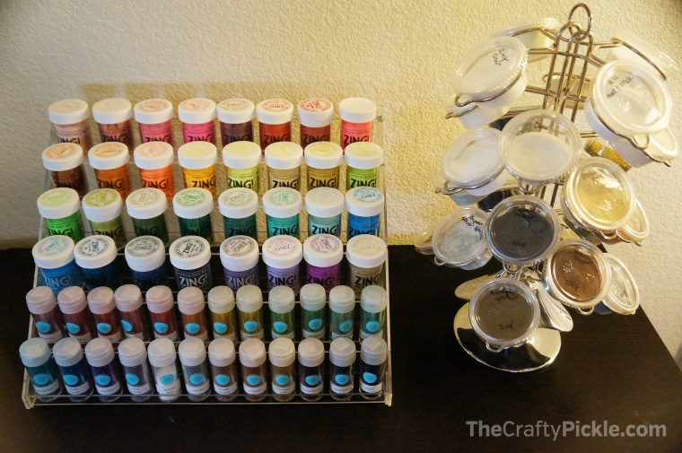 Using a nail polish display to organize your ink mist, glitter, and embossing powder. More at www.thecraftypickle.com