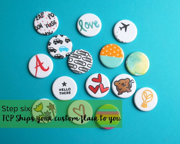 Make your own custom flair buttons with your artwork, stamps, washi, photos, and more @ TheCraftyPickle.com