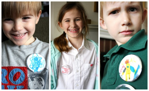 Kid designed wearable buttons http://thesoutherninstitute.com/2013/03/buttons-book-characters.html/