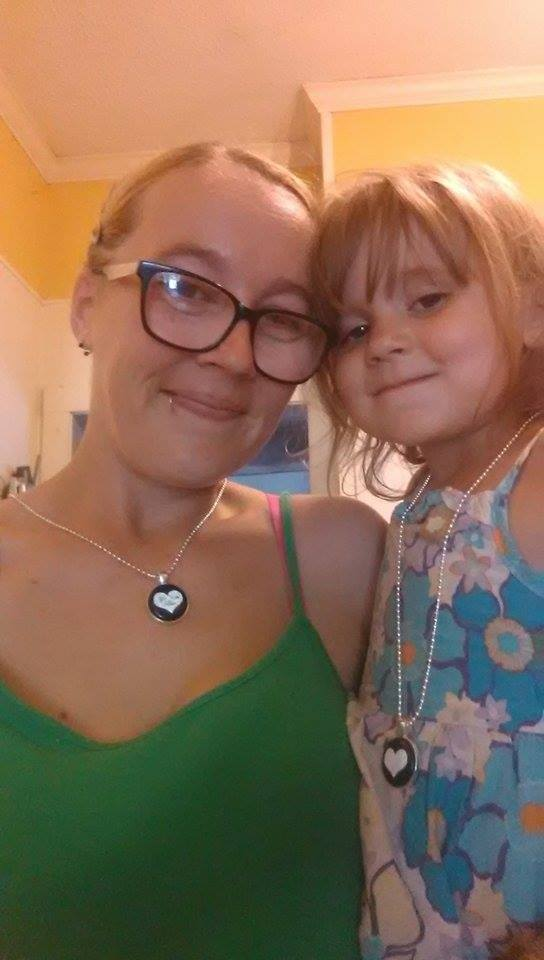 liz and daughter wearing custom Button necklaces from TheCraftyPickle.com