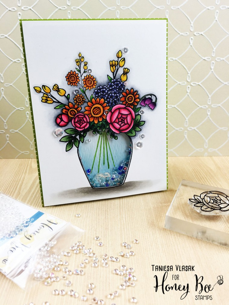 "Create an adorable ""shaker vase"" using Honey Bee Stamps new Zen florals series and new gems that you can hand dye to match any project! More info at www.thecraftypickle.com"