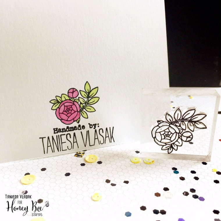 Honey Bee Stamps Aug 2016 release | Taniesa Vlasak | Customize the back of your card with your signature and a stamp from the main stamp set you used on your card!