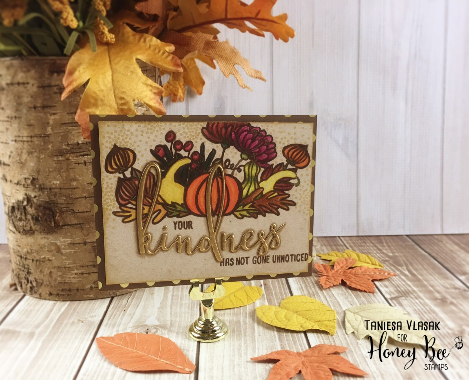 Learn more about how to make this fun fall *almost* one layer card using products from Honey Bee Stamps and Essentials by Ellen at www.thecraftypickle.com