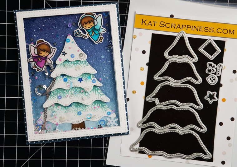 Adding texture to Christmas tree die cuts | Taniesa Vlasak for KatScrappiness.com
