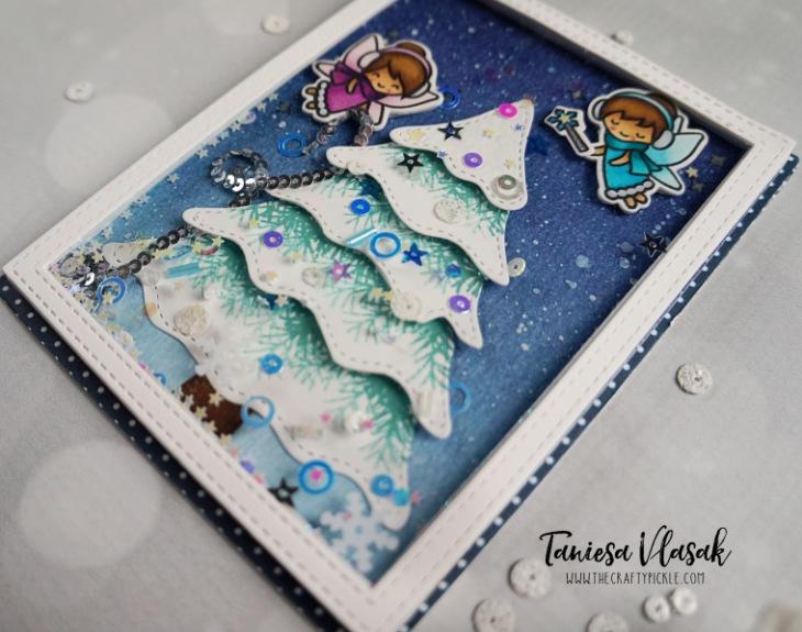 Adding texture to Christmas tree die cuts | Taniesa Vlasak for KatScrappiness.com