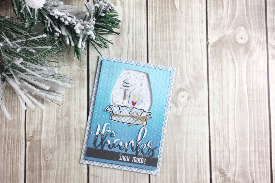 Take your jar stamps and turn them upside down to create a cute snow globe!  See more at www.thecraftypickle.com | Taniesa Vlasak for Honey Bee Stamps